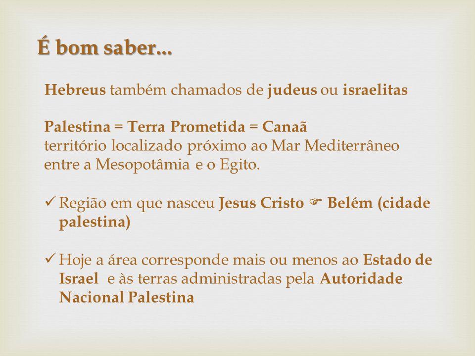 É bom saber... Hebreus também chamados de judeus ou israelitas Palestina = Terra Prometida = Canaã território localizado próximo ao Mar Mediterrâneo e