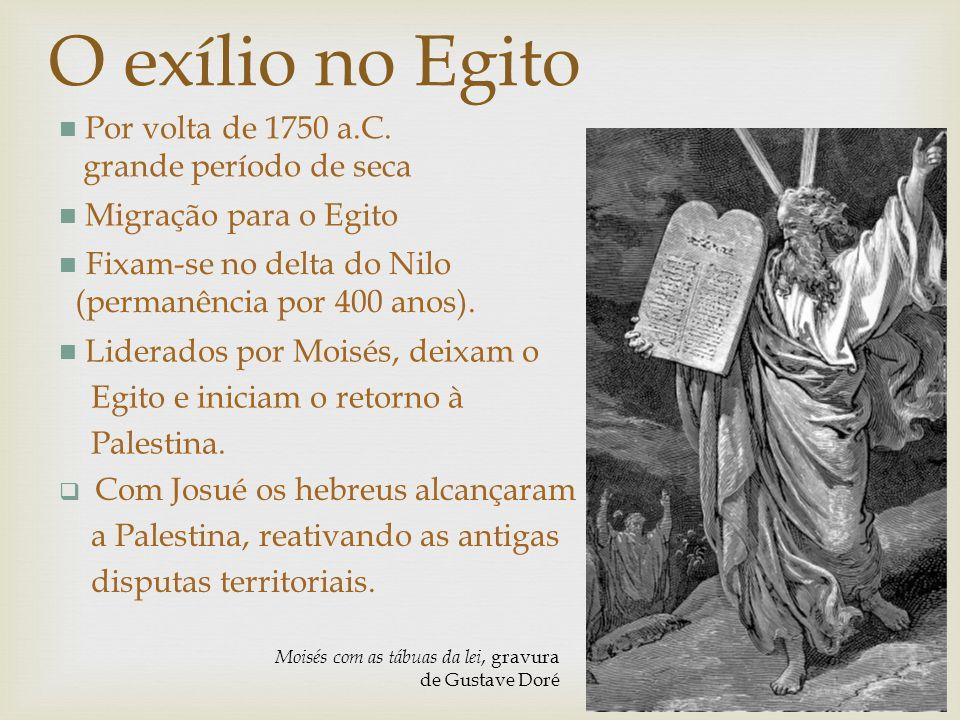 O exílio no Egito Por volta de 1750 a.C. grande período de seca Moisés com as tábuas da lei, gravura de Gustave Doré Migração para o Egito Fixam-se no