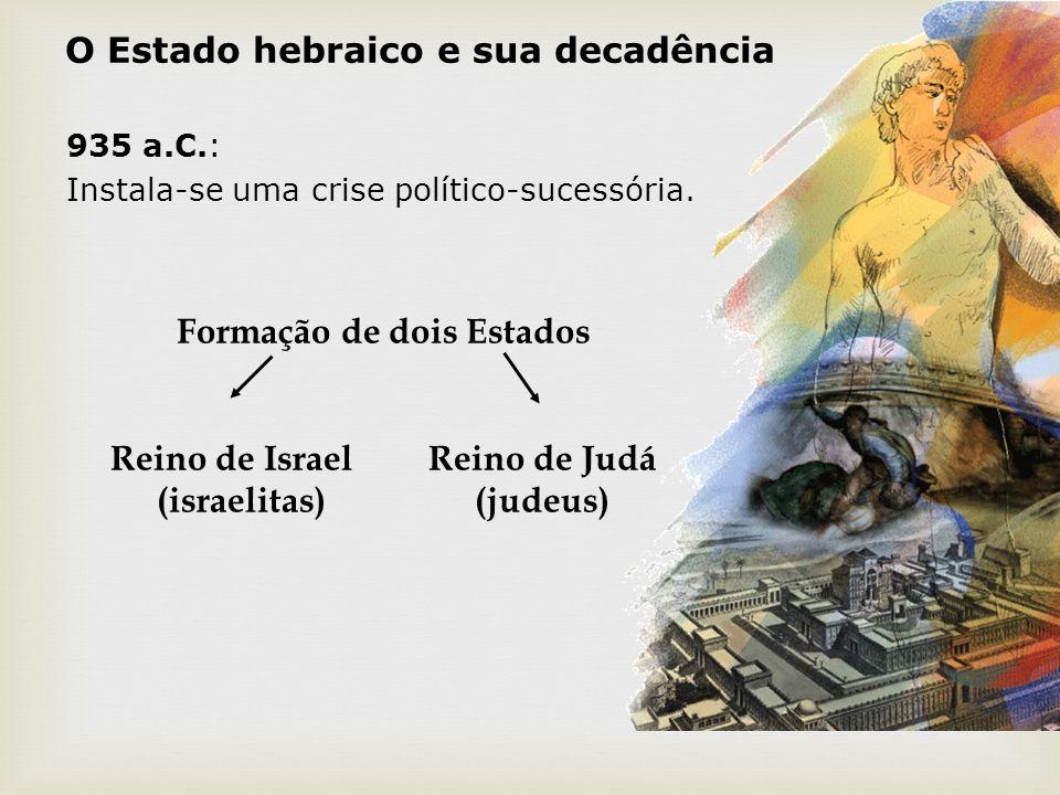 O Estado hebraico e sua decadência 935 a.C.: Instala-se uma crise político-sucessória. Formação de dois Estados Reino de Israel Reino de Judá (israeli