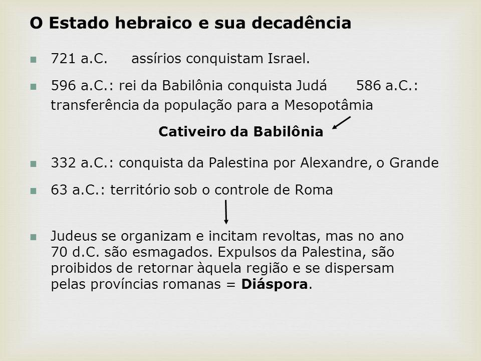 O Estado hebraico e sua decadência 721 a.C. assírios conquistam Israel. 596 a.C.: rei da Babilônia conquista Judá 586 a.C.: transferência da população