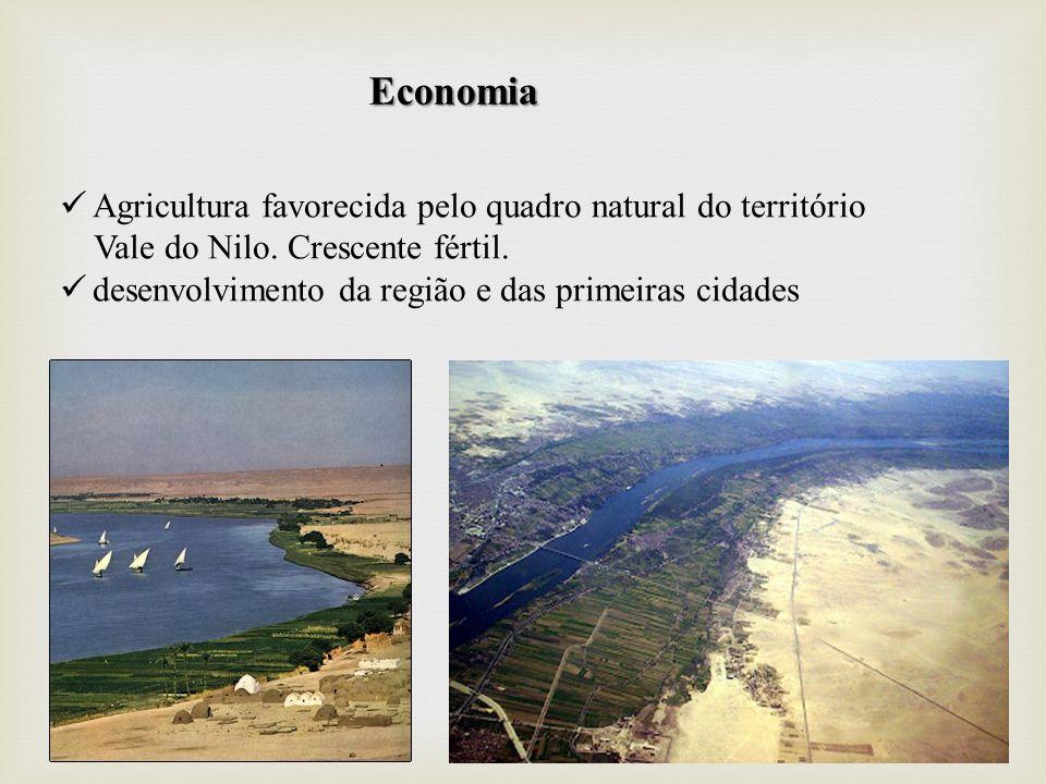 Economia Agricultura favorecida pelo quadro natural do território Vale do Nilo. Crescente fértil. desenvolvimento da região e das primeiras cidades