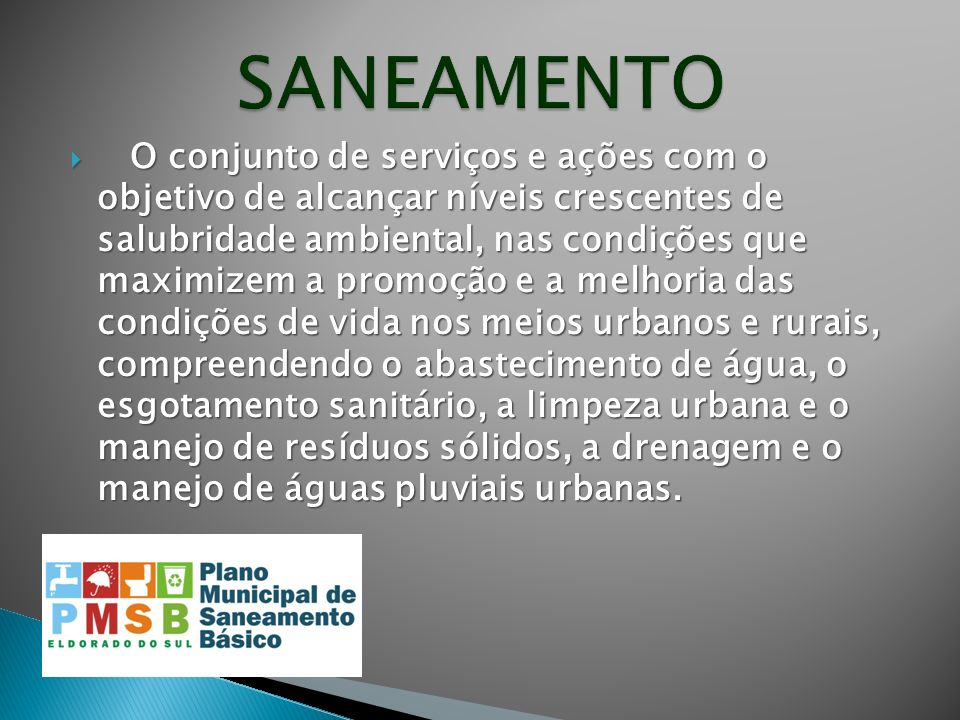 O conjunto de serviços e ações com o objetivo de alcançar níveis crescentes de salubridade ambiental, nas condições que maximizem a promoção e a melho