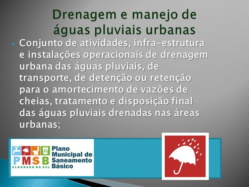 C onjunto de atividades, infra-estrutura e instalações operacionais de drenagem urbana das águas pluviais, de transporte, de detenção ou retenção para