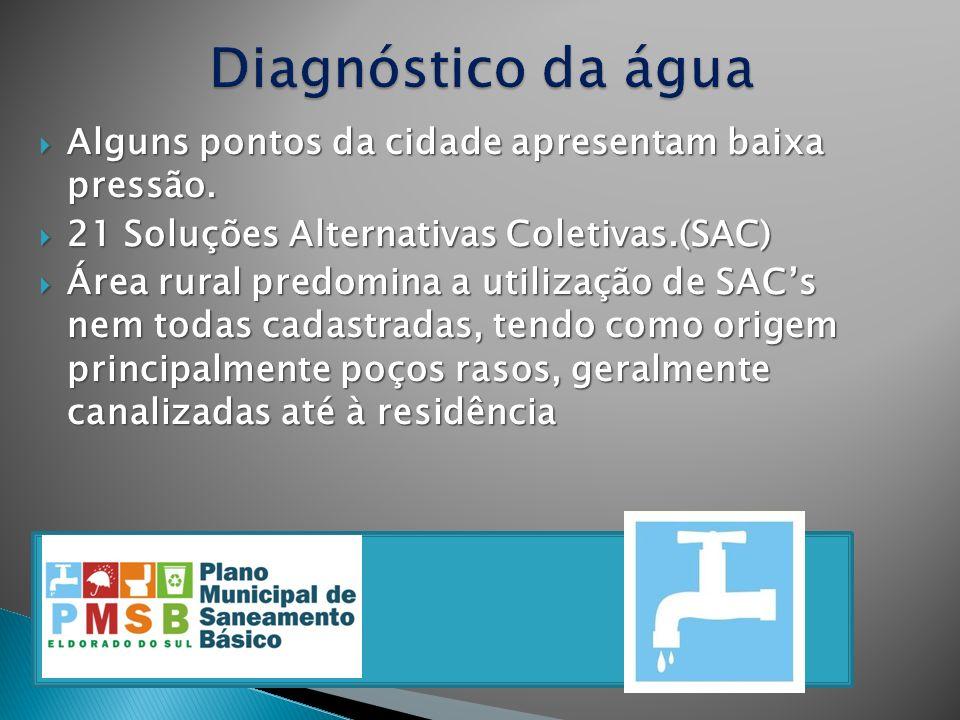 Alguns pontos da cidade apresentam baixa pressão. Alguns pontos da cidade apresentam baixa pressão. 21 Soluções Alternativas Coletivas.(SAC) 21 Soluçõ