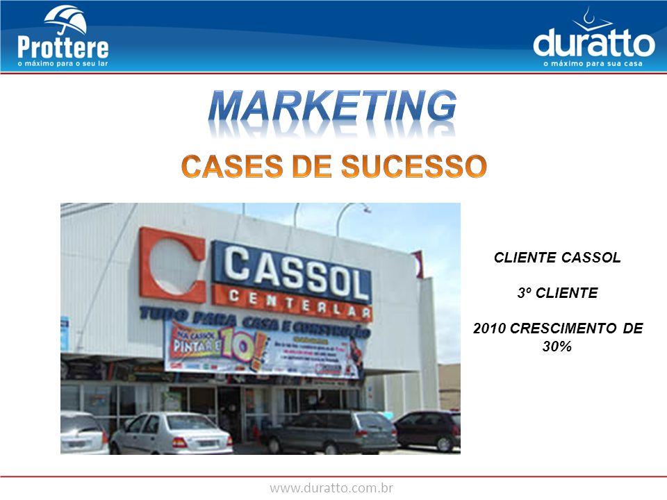 www.duratto.com.br CLIENTE CASSOL 3º CLIENTE 2010 CRESCIMENTO DE 30%