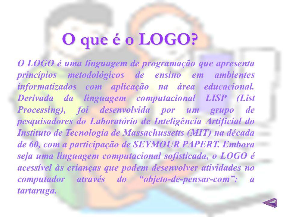 O que é o LOGO? O LOGO é uma linguagem de programação que apresenta princípios metodológicos de ensino em ambientes informatizados com aplicação na ár