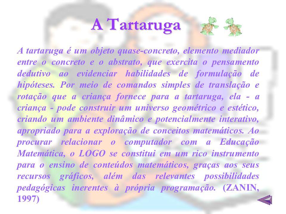 A Tartaruga A tartaruga é um objeto quase-concreto, elemento mediador entre o concreto e o abstrato, que exercita o pensamento dedutivo ao evidenciar