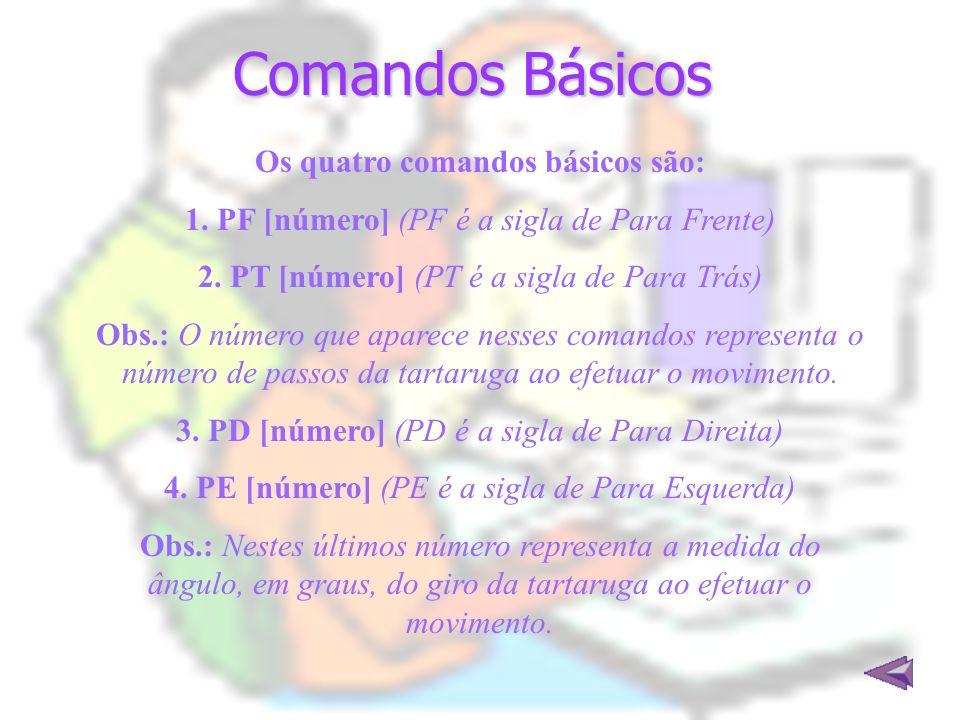 Comandos Básicos Os quatro comandos básicos são: 1. PF [número] (PF é a sigla de Para Frente) 2. PT [número] (PT é a sigla de Para Trás) Obs.: O númer