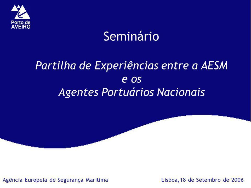 Seminário Partilha de Experiências entre a AESM e os Agentes Portuários Nacionais Lisboa,18 de Setembro de 2006Agência Europeia de Segurança Marítima