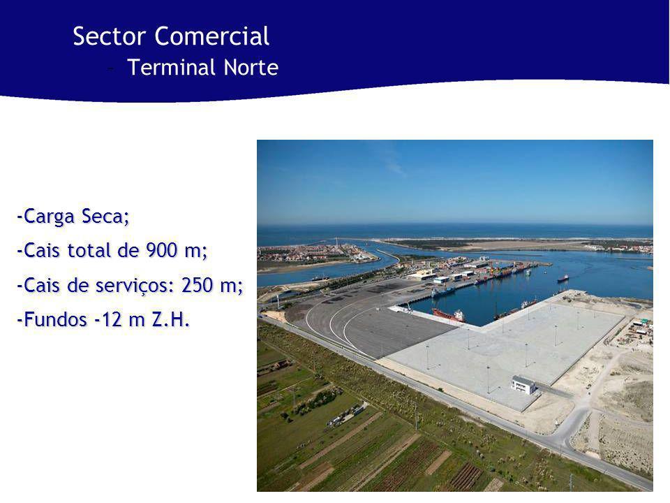 Sector Comercial –Terminal Norte -Carga Seca; -Cais total de 900 m; -Cais de serviços: 250 m; -Fundos -12 m Z.H.