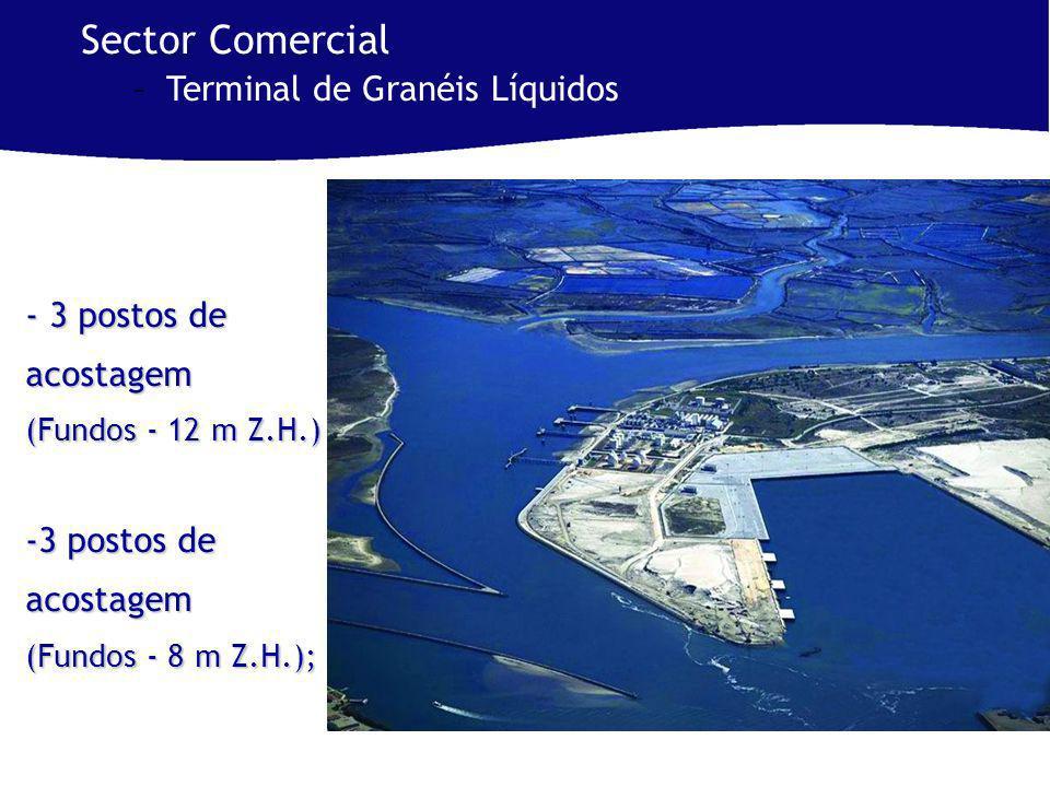 - 3 postos de acostagem (Fundos - 12 m Z.H.) -3 postos de acostagem (Fundos - 8 m Z.H.); Sector Comercial –Terminal de Granéis Líquidos