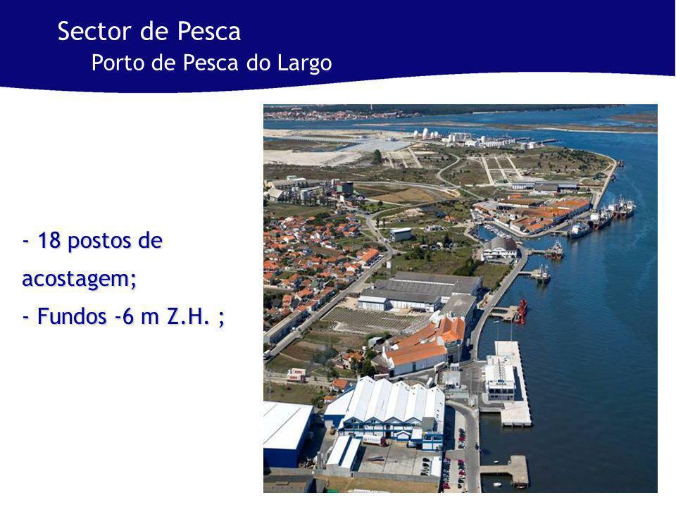 - 18 postos de acostagem; - Fundos -6 m Z.H. ; Sector de Pesca Porto de Pesca do Largo