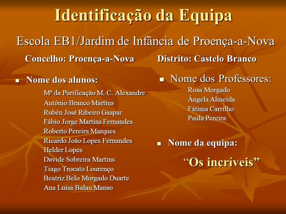 Identificação da Equipa Nome dos alunos: Nome dos alunos: Mª da Purificação M. C. Alexandre António Branco Martins Rubén José Ribeiro Gaspar Fábio Jor