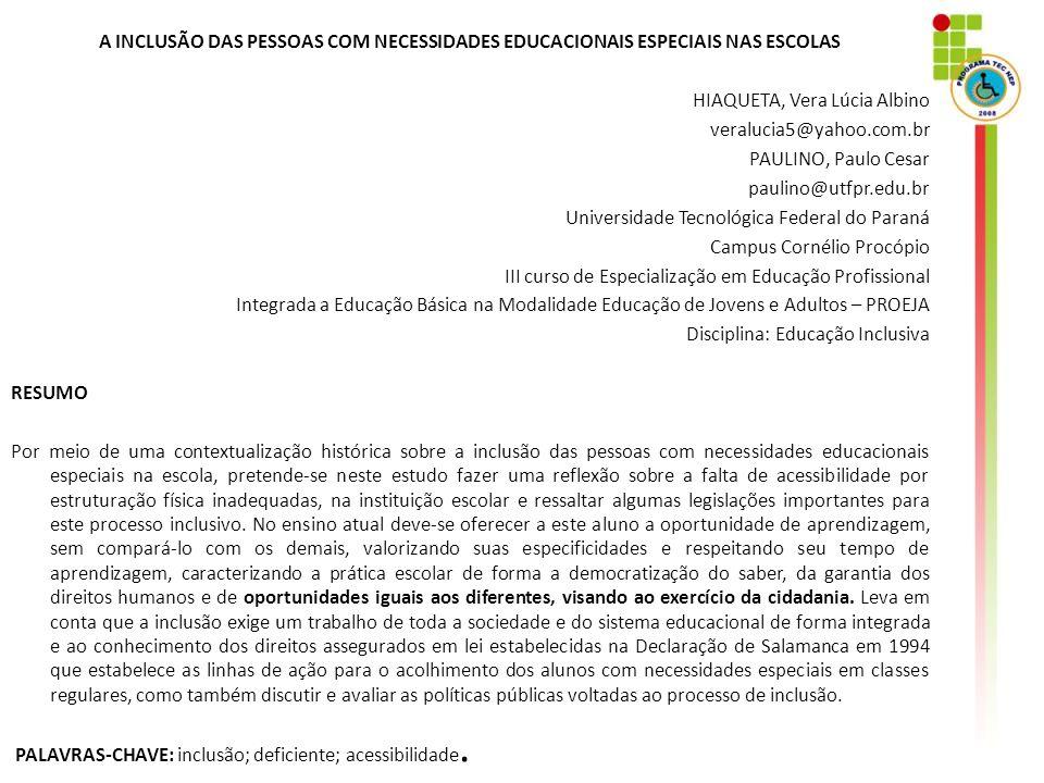 ARTIGOS PUBLICADOS CONGRESSO INTERNACIONAL DE Educação Física – Foz do Iguaçu – 2007 INCLUSÃO DO DEFICIENTE MENTAL NO ESPORTE
