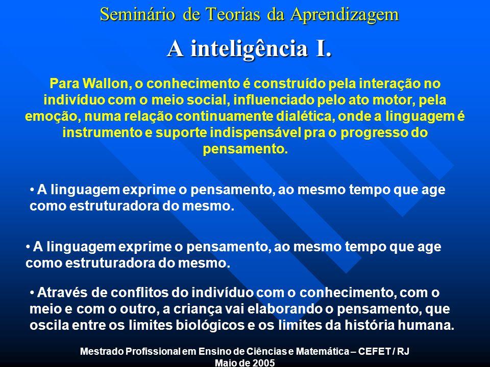 Seminário de Teorias da Aprendizagem A inteligência I. Mestrado Profissional em Ensino de Ciências e Matemática – CEFET / RJ Maio de 2005 Para Wallon,