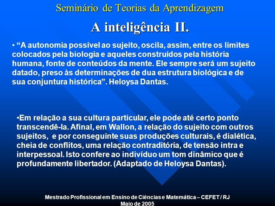 Seminário de Teorias da Aprendizagem A inteligência II. Mestrado Profissional em Ensino de Ciências e Matemática – CEFET / RJ Maio de 2005 A autonomia