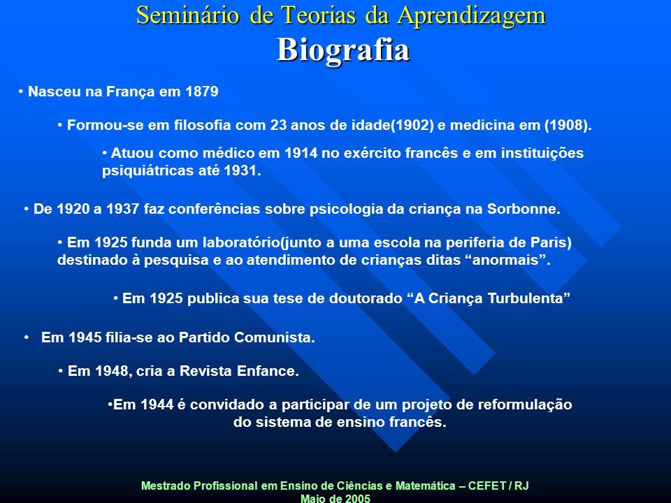 Seminário de Teorias da Aprendizagem Biografia Mestrado Profissional em Ensino de Ciências e Matemática – CEFET / RJ Maio de 2005 Nasceu na França em