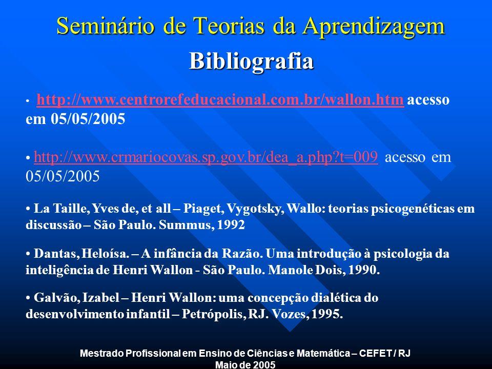 Seminário de Teorias da Aprendizagem Bibliografia Bibliografia Mestrado Profissional em Ensino de Ciências e Matemática – CEFET / RJ Maio de 2005 http