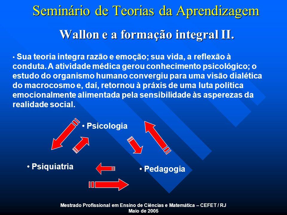Seminário de Teorias da Aprendizagem Wallon e a formação integral II. Mestrado Profissional em Ensino de Ciências e Matemática – CEFET / RJ Maio de 20