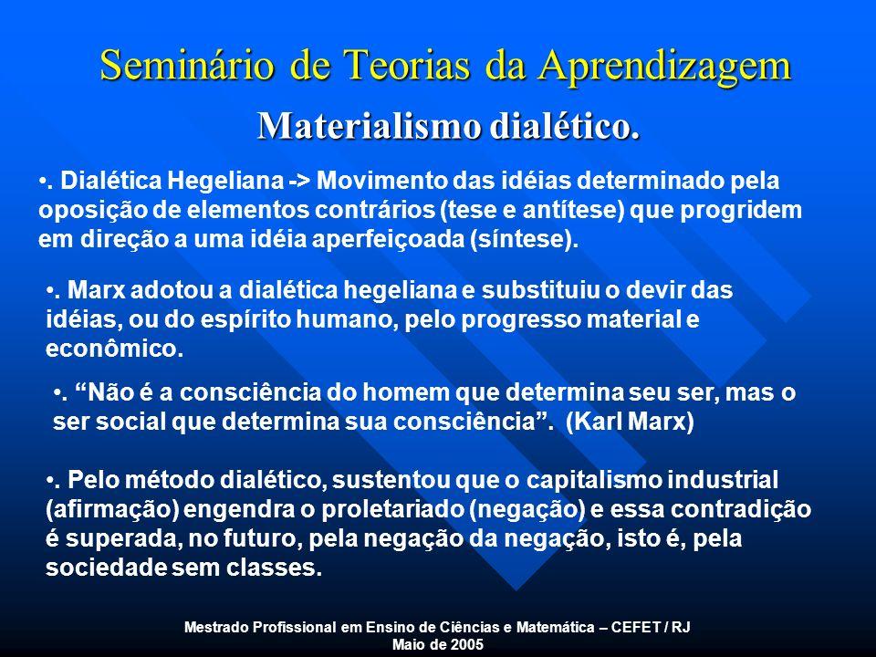 Seminário de Teorias da Aprendizagem Materialismo dialético. Mestrado Profissional em Ensino de Ciências e Matemática – CEFET / RJ Maio de 2005. Dialé