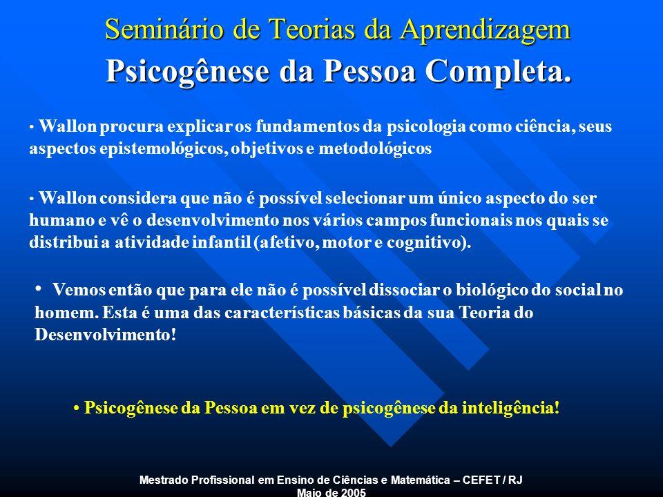 Seminário de Teorias da Aprendizagem Estágios do Desenvolvimento Humano Mestrado Profissional em Ensino de Ciências e Matemática – CEFET / RJ Maio de 2005 Personalismo - Ocorre dos três aos seis anos.