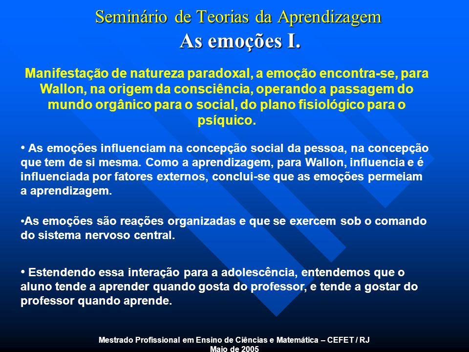 Seminário de Teorias da Aprendizagem As emoções I. Mestrado Profissional em Ensino de Ciências e Matemática – CEFET / RJ Maio de 2005 Manifestação de