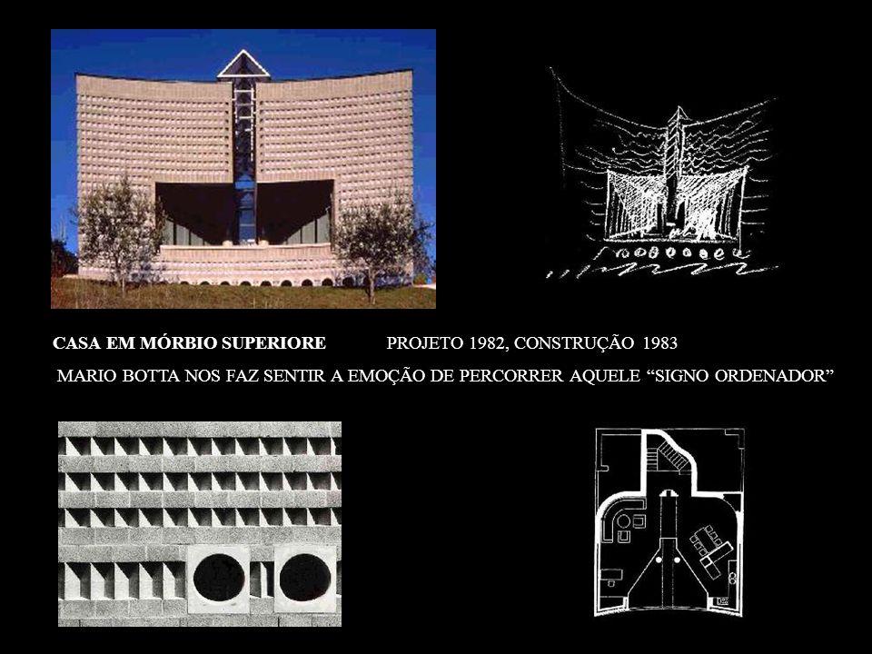 EDIFÍCIO COMERCIAL E RESIDÊNCIAL - LUGANO 1991 FRÁGEIS MOLDURAS QUE CONECTAM PARTES SÓLIDAS E NO ENTANTO COMPACTAS, COMO UMA CONCHA RACHADA QUE SE ESTÁ ENTREABRINDO, A ARQUITETURA DESSES EDIFÍCIOS PARECE COMO QUERER ASSINALAR O NASCIMENTO DE HOMEM NOVO, PARA O QUAL A EXIGÊNCIA DE UM REFÚGIO, DE UMA PROTEÇÃO, CEDE O LUGAR A UM ESPÍRITO DE RENOVADA CONFIANÇA E ABERTURA PARA O MUNDO EXTERIOR.