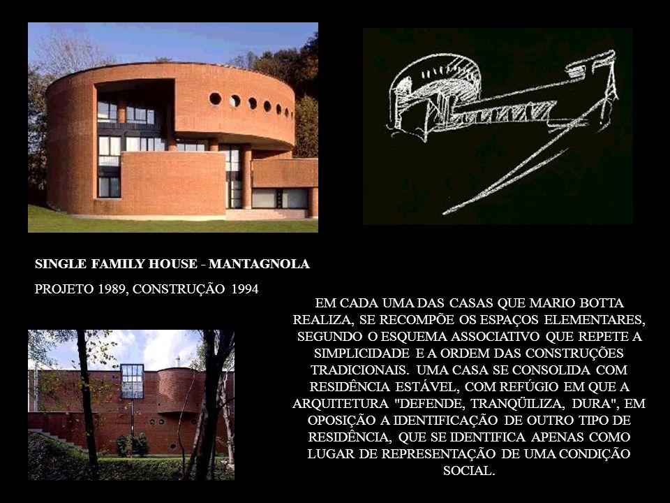 SINGLE FAMILY HOUSE - MANTAGNOLA PROJETO 1989, CONSTRUÇÃO 1994 EM CADA UMA DAS CASAS QUE MARIO BOTTA REALIZA, SE RECOMPÕE OS ESPAÇOS ELEMENTARES, SEGU