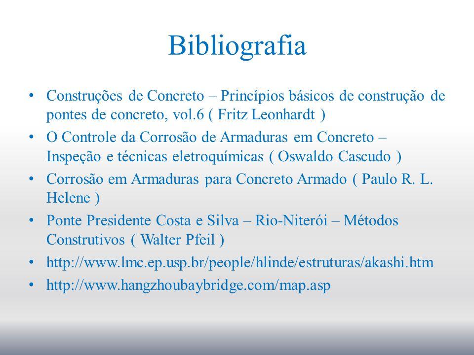 Bibliografia Construções de Concreto – Princípios básicos de construção de pontes de concreto, vol.6 ( Fritz Leonhardt ) O Controle da Corrosão de Arm