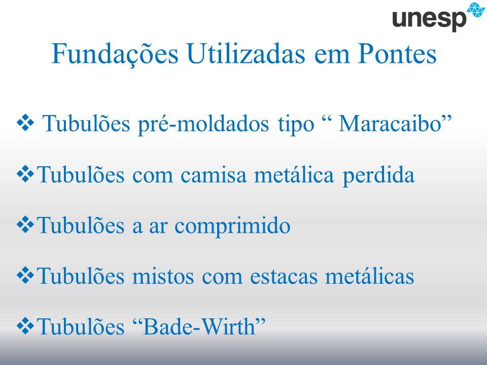 Fundações Utilizadas em Pontes Tubulões pré-moldados tipo Maracaibo Tubulões com camisa metálica perdida Tubulões a ar comprimido Tubulões mistos com