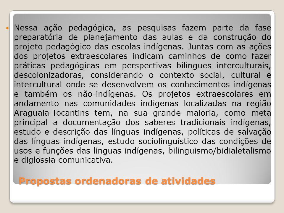 Propostas ordenadoras de atividades O Território Etnoeducacional abrange os Estados do Tocantins, Goiás, parte de Mato Grosso e Maranhão, local onde vivem povos indígenas que falam línguas do Tronco Linguístico Macro-Jê: Karajá, Karajá/Xambioá, Javaé, Gavião, Xerente, Xavante, Apinajé, Krahô, Krahô Canela e Krikati; e de línguas do Tronco Tupi: Guajajára, Tapirapé, Guarani, Avá-Canoeiro, e, ainda, os Tapuio, remanescentes de alguns povos Macro-Jê, falantes de língua portuguesa ou português Tapuio, como eles reivindicam.