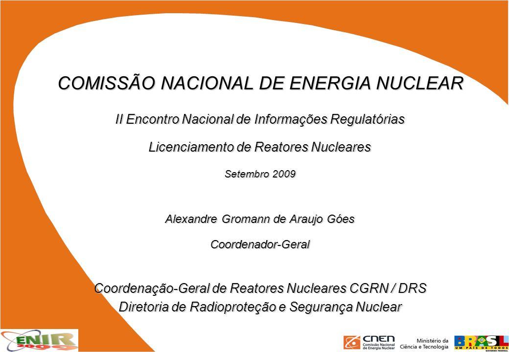 COMISSÃO NACIONAL DE ENERGIA NUCLEAR II Encontro Nacional de Informações Regulatórias Licenciamento de Reatores Nucleares Setembro 2009 Alexandre Grom