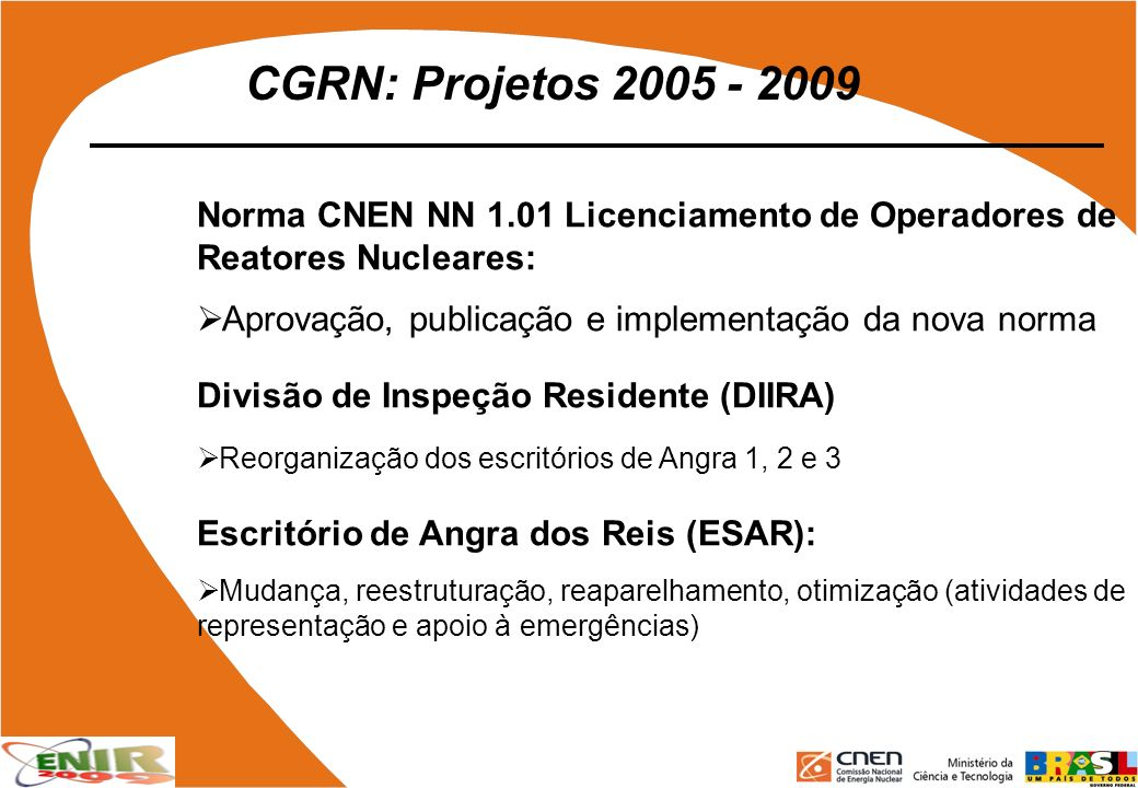 CGRN: Projetos 2005 - 2009 Norma CNEN NN 1.01 Licenciamento de Operadores de Reatores Nucleares: Aprovação, publicação e implementação da nova norma D