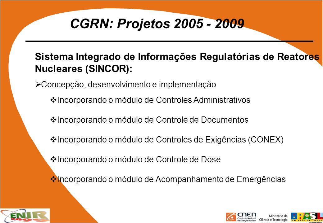 CGRN: Projetos 2005 - 2009 Sistema Integrado de Informações Regulatórias de Reatores Nucleares (SINCOR): Concepção, desenvolvimento e implementação In