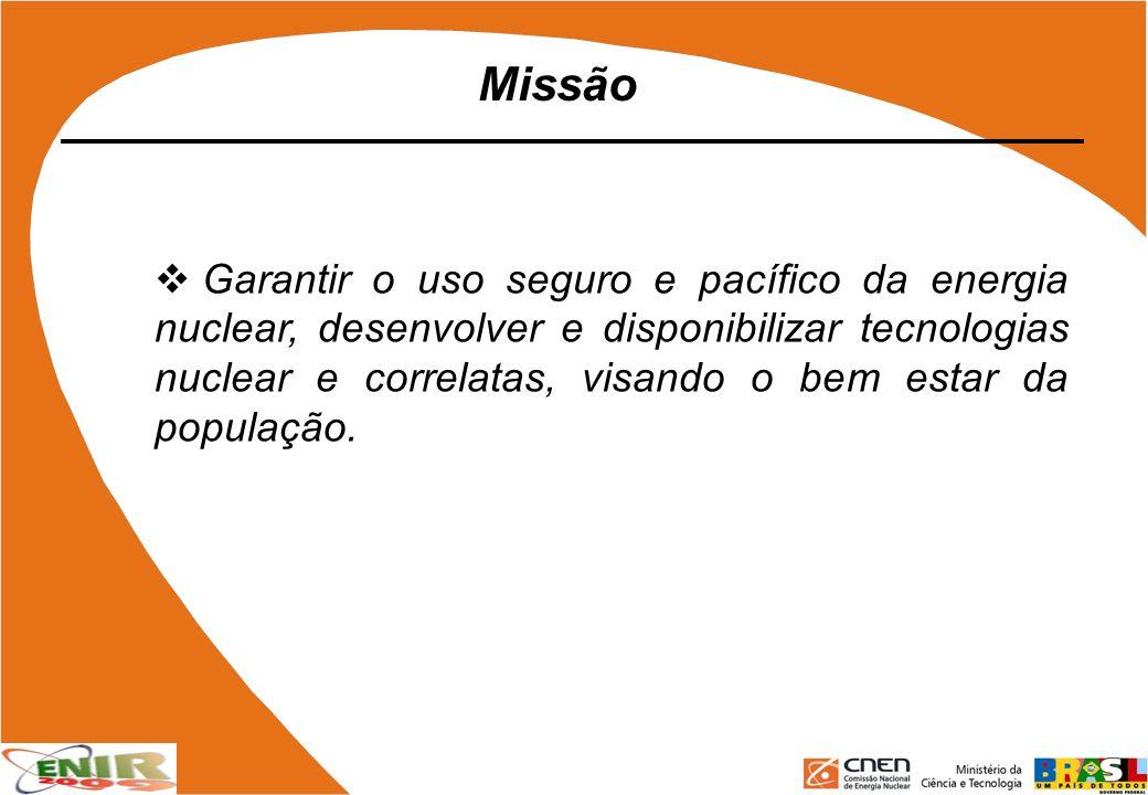Garantir o uso seguro e pacífico da energia nuclear, desenvolver e disponibilizar tecnologias nuclear e correlatas, visando o bem estar da população.