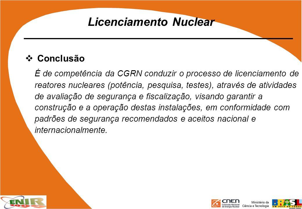Licenciamento Nuclear Conclusão É de competência da CGRN conduzir o processo de licenciamento de reatores nucleares (potência, pesquisa, testes), atra