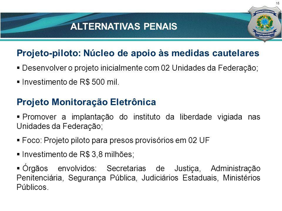15 CENÁRIO ATUAL Projeto-piloto: Núcleo de apoio às medidas cautelares Desenvolver o projeto inicialmente com 02 Unidades da Federação; Investimento de R$ 500 mil.