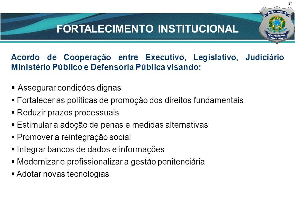 27 FORTALECIMENTO INSTITUCIONAL Acordo de Cooperação entre Executivo, Legislativo, Judiciário Ministério Público e Defensoria Pública visando: Assegur