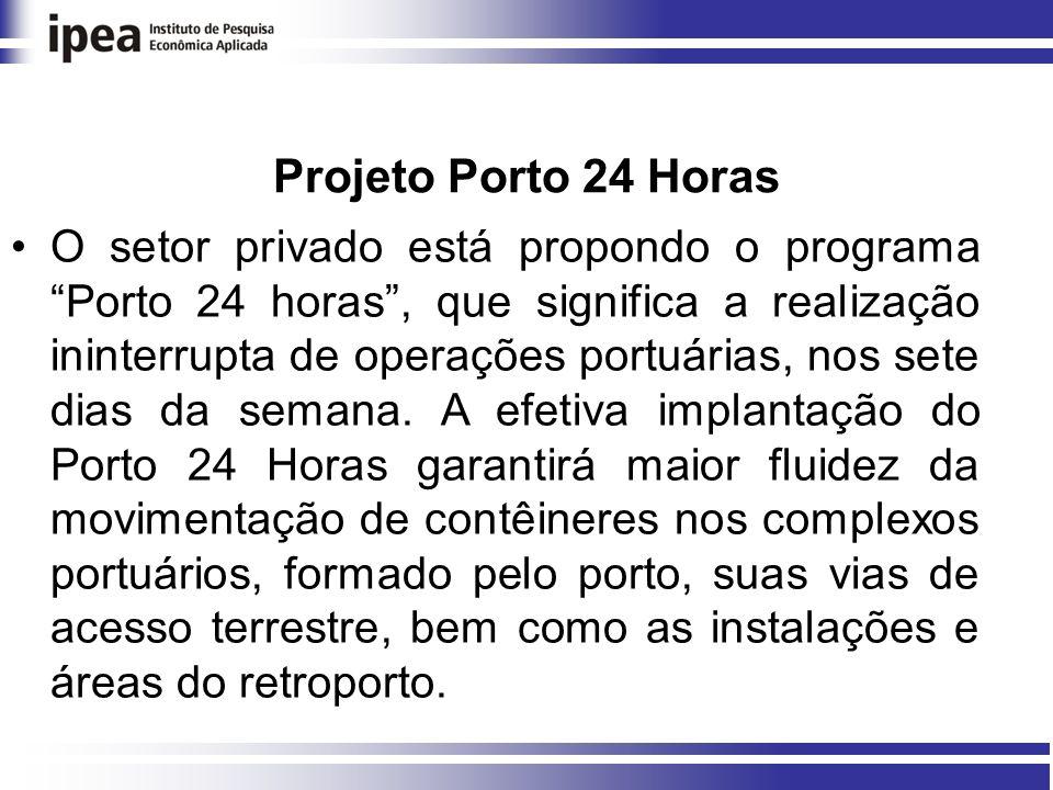 Projeto Porto 24 Horas O setor privado está propondo o programa Porto 24 horas, que significa a realização ininterrupta de operações portuárias, nos sete dias da semana.