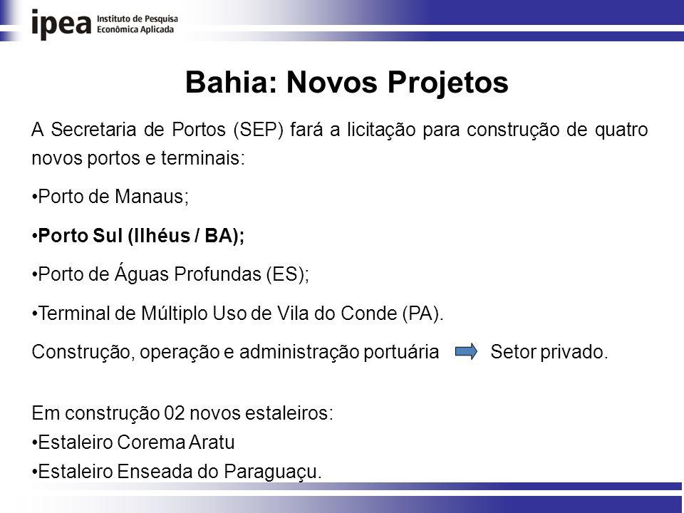 Bahia: Novos Projetos A Secretaria de Portos (SEP) fará a licitação para construção de quatro novos portos e terminais: Porto de Manaus; Porto Sul (Ilhéus / BA); Porto de Águas Profundas (ES); Terminal de Múltiplo Uso de Vila do Conde (PA).