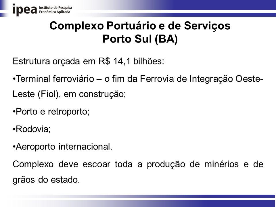 Complexo Portuário e de Serviços Porto Sul (BA) Estrutura orçada em R$ 14,1 bilhões: Terminal ferroviário – o fim da Ferrovia de Integração Oeste- Leste (Fiol), em construção; Porto e retroporto; Rodovia; Aeroporto internacional.