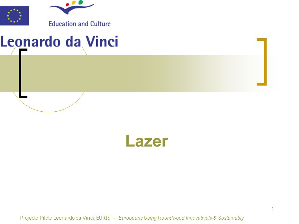 1 Lazer Projecto Piloto Leonardo da Vinci, EURIS – Europeans Using Roundwood Innovatively & Sustainably