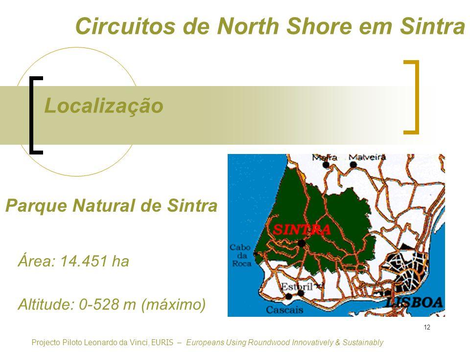 12 Parque Natural de Sintra Localização Circuitos de North Shore em Sintra Projecto Piloto Leonardo da Vinci, EURIS – Europeans Using Roundwood Innovatively & Sustainably Altitude: 0-528 m (máximo) Área: 14.451 ha