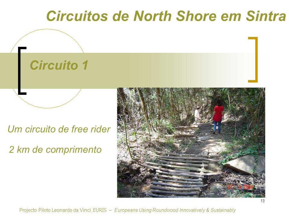 13 Circuito 1 Circuitos de North Shore em Sintra Um circuito de free rider Projecto Piloto Leonardo da Vinci, EURIS – Europeans Using Roundwood Innovatively & Sustainably 2 km de comprimento