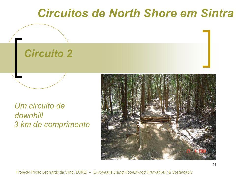 14 Circuito 2 Circuitos de North Shore em Sintra Um circuito de downhill Projecto Piloto Leonardo da Vinci, EURIS – Europeans Using Roundwood Innovatively & Sustainably 3 km de comprimento