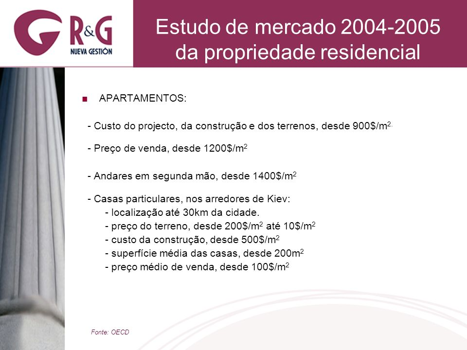 Estudo de mercado 2004-2005 da propriedade residencial APARTAMENTOS: - Custo do projecto, da construção e dos terrenos, desde 900$/m 2. - Preço de ven