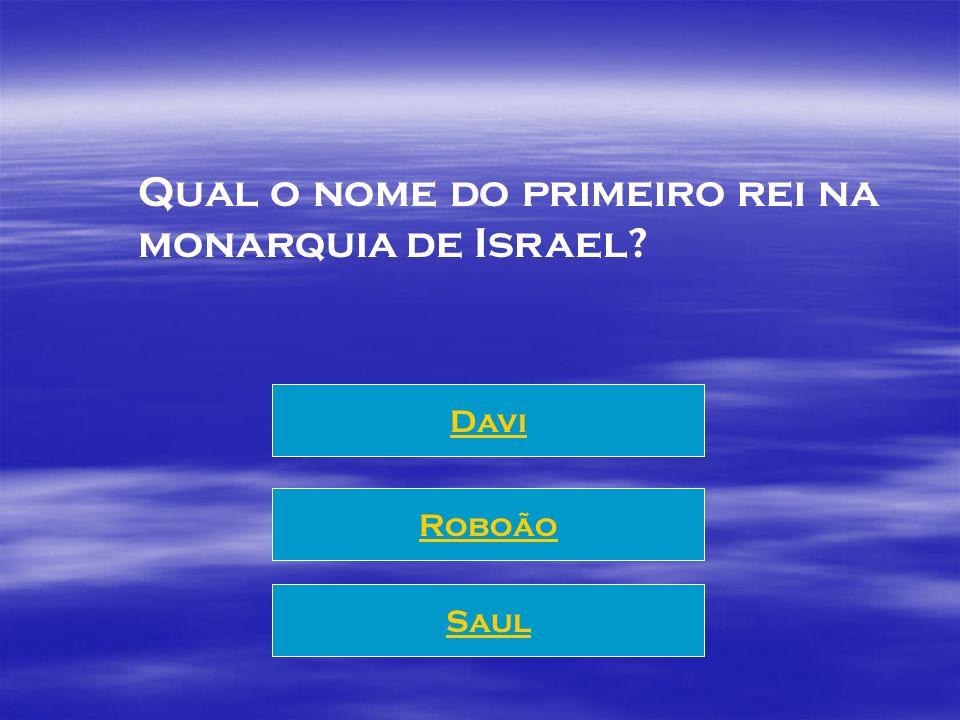 Qual o nome do primeiro rei na monarquia de Israel? Saul Roboão Davi