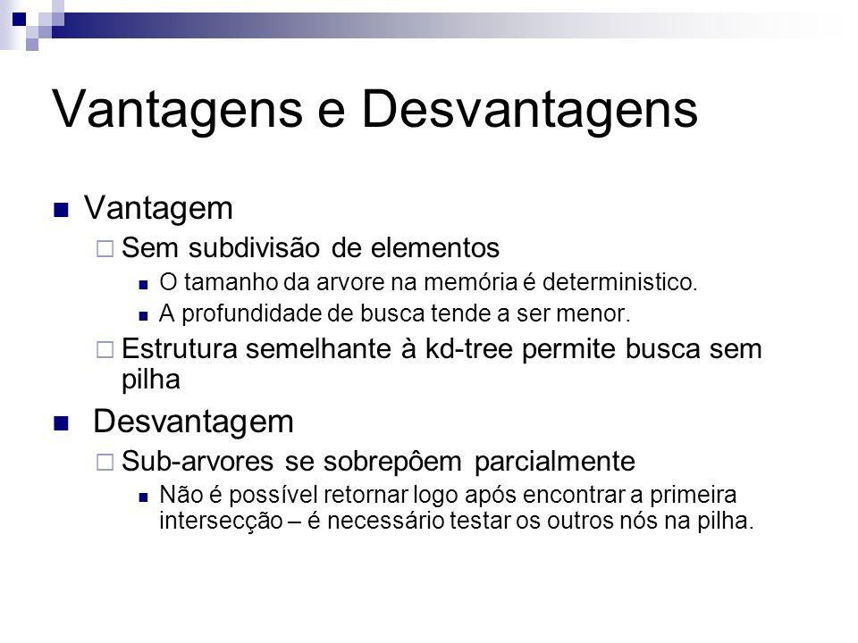 Vantagens e Desvantagens Vantagem Sem subdivisão de elementos O tamanho da arvore na memória é deterministico. A profundidade de busca tende a ser men
