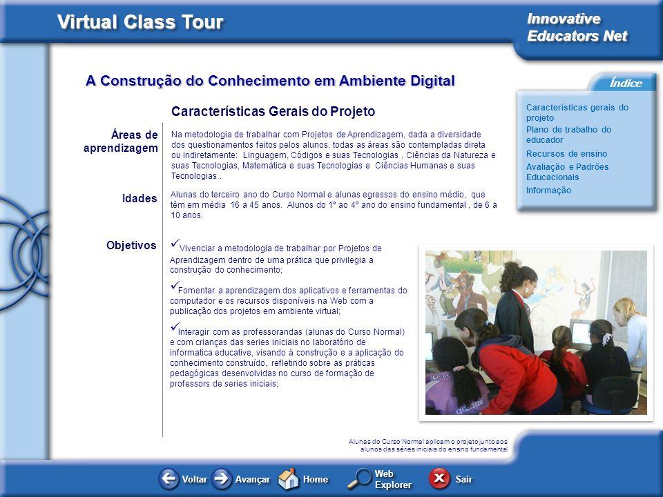A Construção do Conhecimento em Ambiente Digital Virtual Class Tour Innovative Educators Net Características gerais do projeto Plano de trabalho do ed