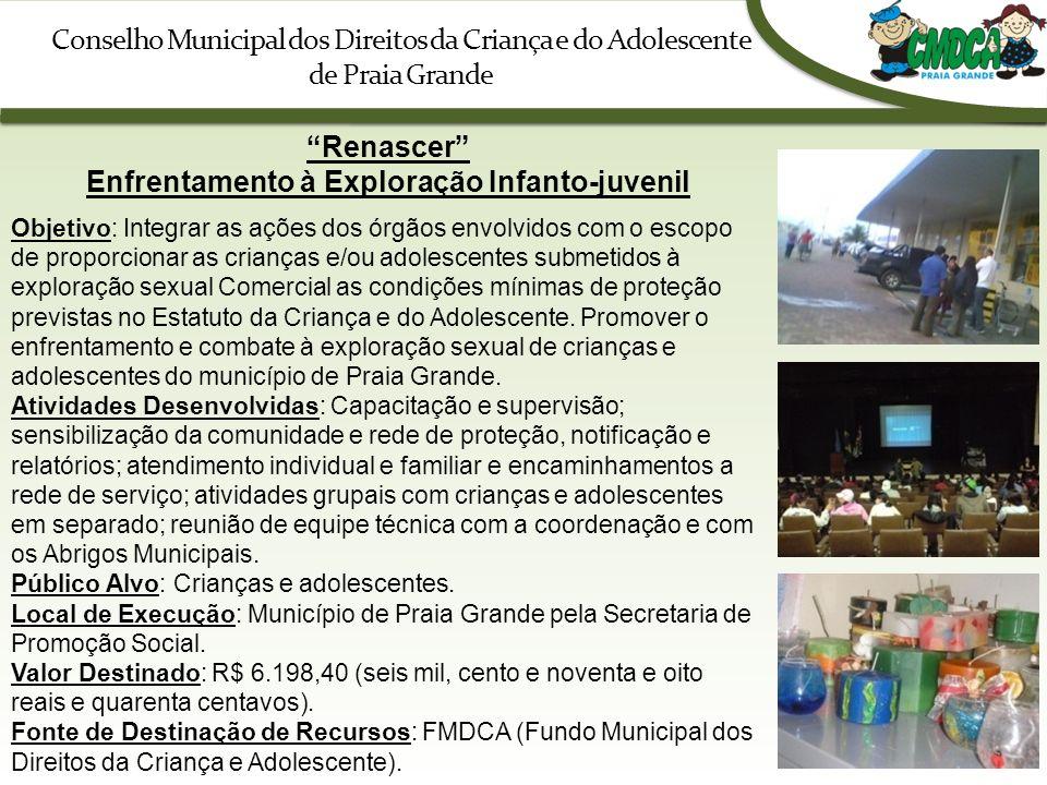 Conselho Municipal dos Direitos da Criança e do Adolescente de Praia Grande Renascer Enfrentamento à Exploração Infanto-juvenil Objetivo: Integrar as